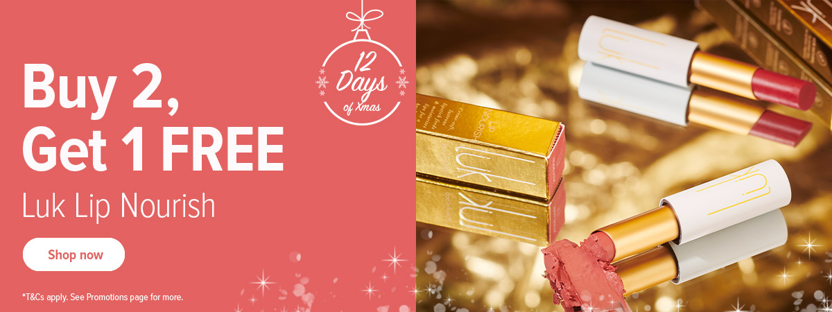 12 Days of Christmas: Luk Lip Nourish. Buy two get one free! No code needed