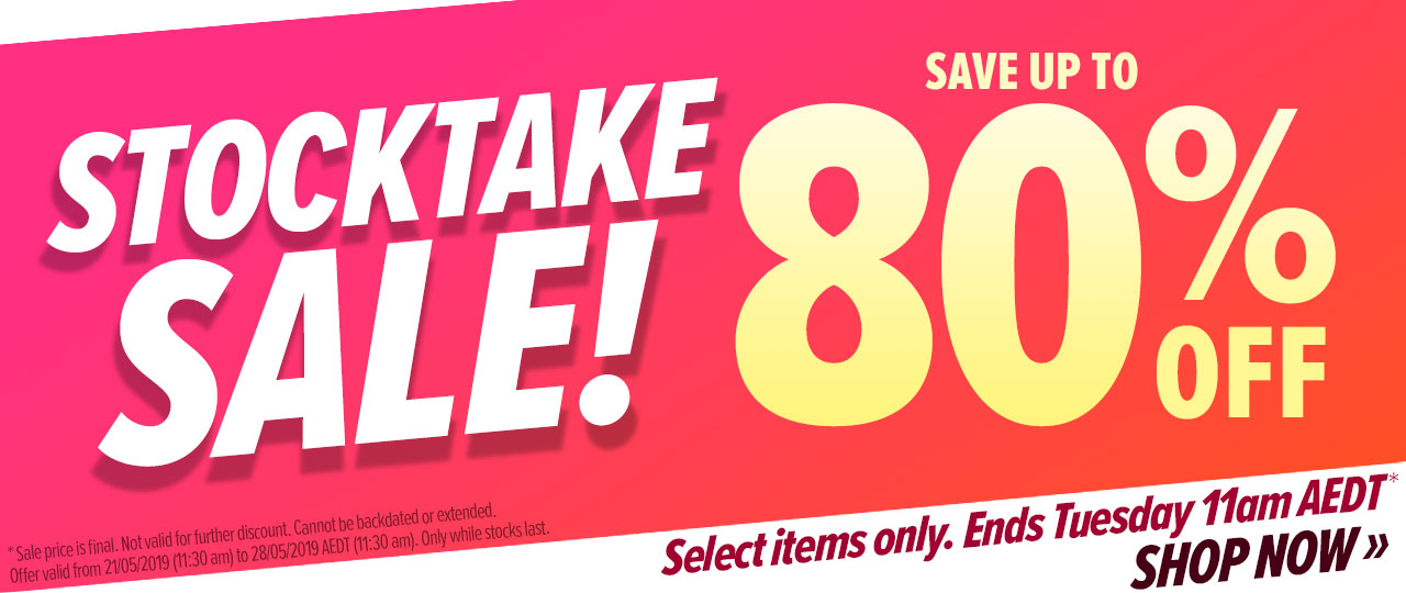 Offer: Stocktake Sale! Up to 80% off select items