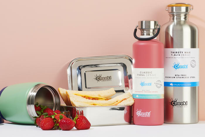 Stainless steel lunchboxes water bottles and food containers