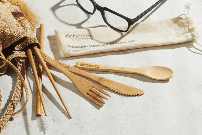 Reusable bamboo cutlery set for travel