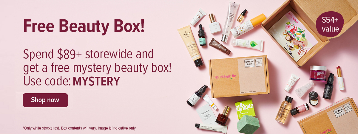 Spend $89+ storewide & Get a free mystery beauty box! Valued at $54+