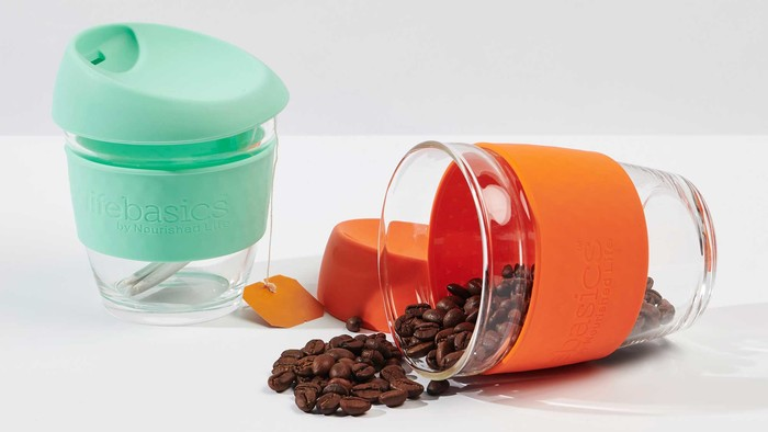 Life Basics Large Reusable Glass Coffee Cup - Orange