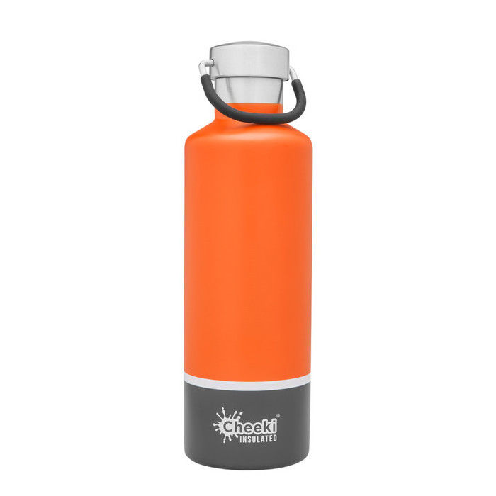 Cheeki Classic Insulated Bottle 600ml - Orange Grey