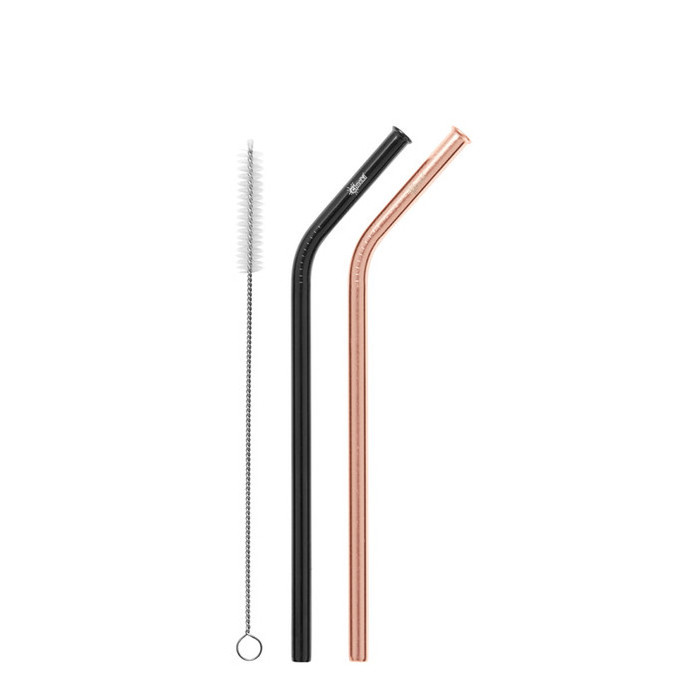Cheeki Stainless Steel Straws - 2 Pack Bent - Rose Gold & Black