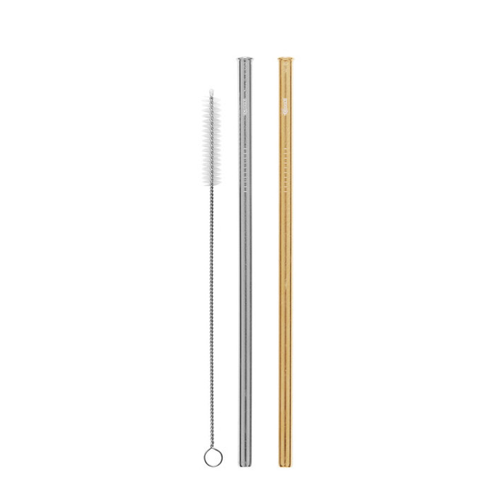 Cheeki Stainless Steel Straws - 2 Pack Straight - Silver & Gold