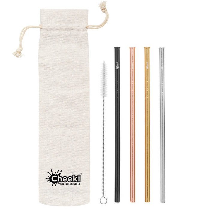 Cheeki Stainless Steel Straws - 4 Pack Straight