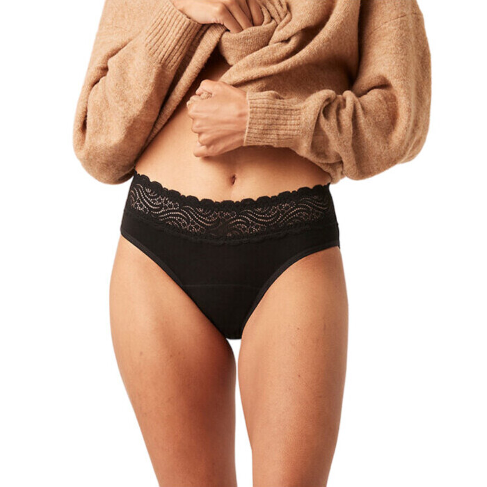 Modibodi Period Proof Sensual Lace High Waist Bikini - Black