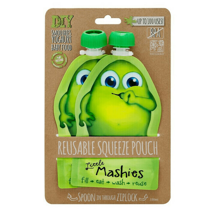 Little Mashies Reusable Food Pouch - Green x 2