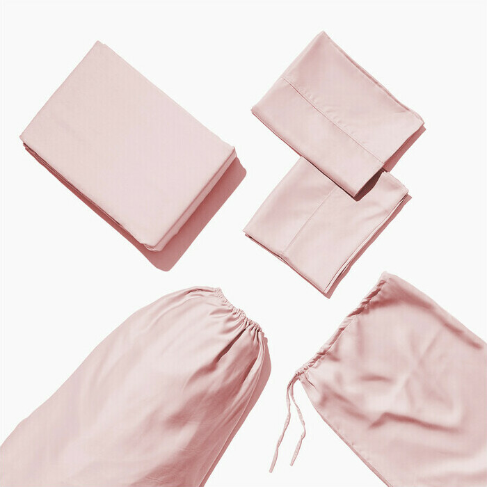 Life Basics Eco Bamboo Sheet & Pillow Set - Pink