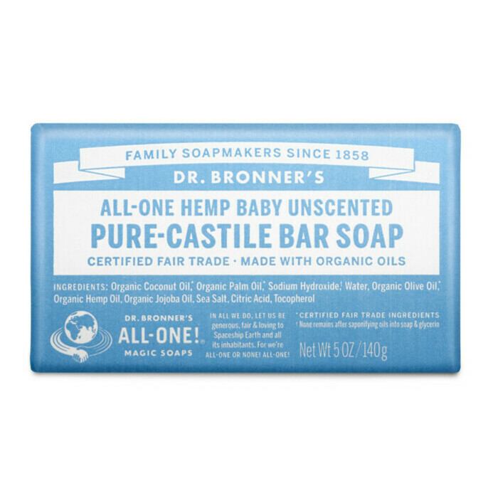 Dr Bronner's Pure-Castile Bar Soap - Baby Unscented Mild