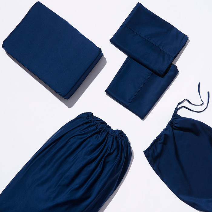 Life Basics Eco Bamboo Sheet & Pillow Set - Navy