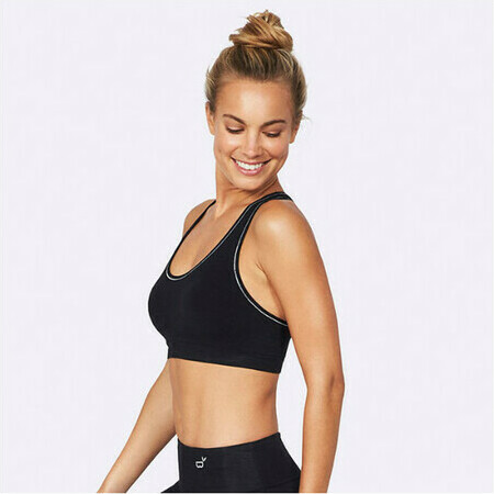 BOODY Bamboo Active Racerback Sports Bra - Black/Silver Stitch