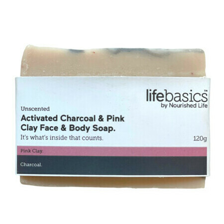 Life Basics Activated Charcoal & Pink Clay Face & Body Soap