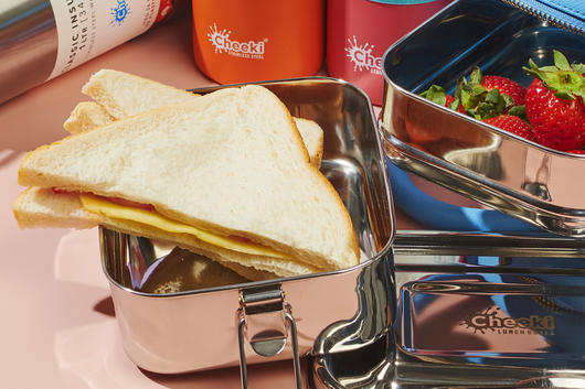 Stainless steel lunch box with clip lid