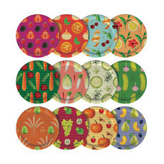 Mortier Pilon Mason Jar Lids - Set of 12 Food Pattern