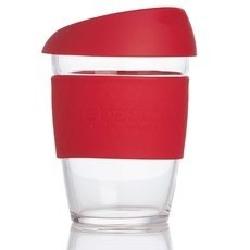 Life Basics Large Reusable Glass Coffee Cup - Wine Red