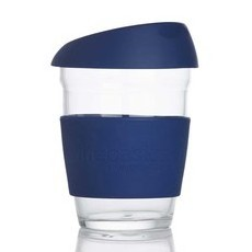 Life Basics Large Reusable Glass Coffee Cup - Navy