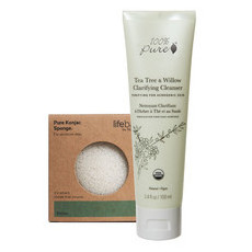 100% Pure Tea Tree & Willow Clarifying Cleanser + FREE KONJAC SPONGE