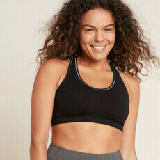 Boody Racerback Sports Bra - Black/Silver Stitch