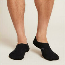 Boody Men's Invisible Active Sports Socks - Black - 6-11