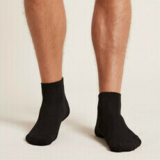Boody Men's Cushioned Sports Ankle Socks - Black