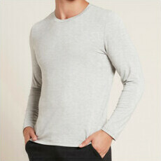 Boody Men's Long Sleeve Crew Neck T-Shirt - Light Grey Marl
