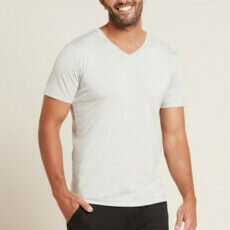 Boody Men's V-Neck T-Shirt - Light Grey Marl