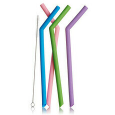 Life Basics Reusable Wide Bent Silicone Straws - Multi-Coloured
