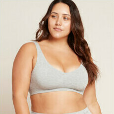 Boody Padded Shaper Crop Bra - Light Grey Marl