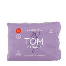 TOM Organic Overnight Pads - 8 pack