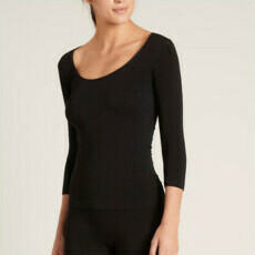 Boody 3/4 Sleeve Scoop Top - Black