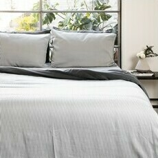 ettitude Sateen Duvet Cover - Slate Stripes
