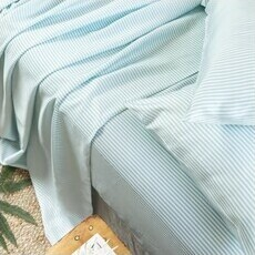 ettitude Sateen Sheet Set - Starlight Blue Stripes