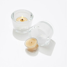 Pure Beeswax Tealights with Glass Holders