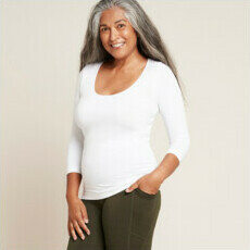 BOODY Bamboo 3/4 sleeve Scoop Top - White