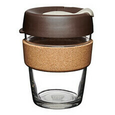 Brew Cork Reusuable Glass Coffee Cup Almond