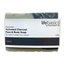 Life Basics Activated Charcoal Face & Body Soap - Unscented