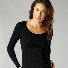 O2wear - Bamboo Long Sleeve Scoop Top - Black