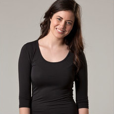 O2wear - Bamboo 3/4 Sleeve Scoop Top - Black