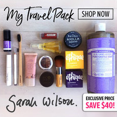 "Sarah Wilson's Exclusive ""My Travel Pack"""