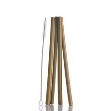 Bamboo Straws - 4 Pack With Cleaning Brush