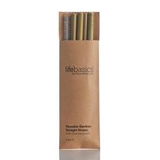 Life Basics Bamboo Straws - 4 Pack With Cleaning Brush